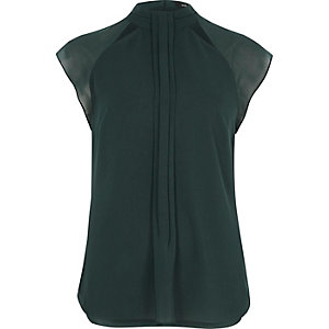 Dark green pleat front cap sleeve top