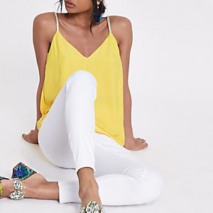 Yellow plaited strap cami top