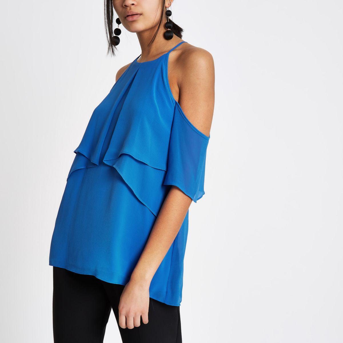 Donkerblauwe crêpe schouderloze blouse met ruches