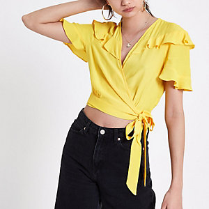 Yellow frill wrap tie side crop top