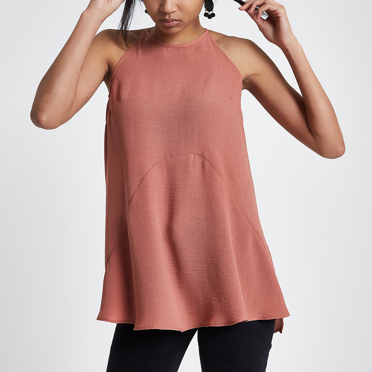Light brown high low hem tie neck top