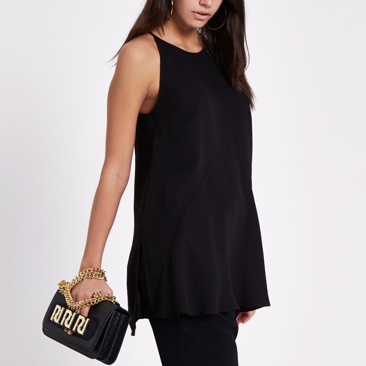 Black high low hem cami top