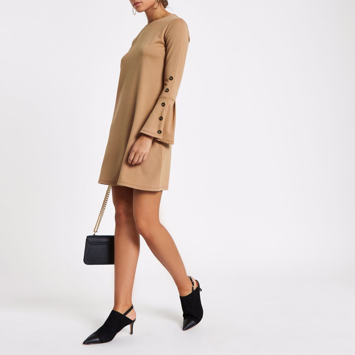 Beige button bell sleeve shift jersey dress