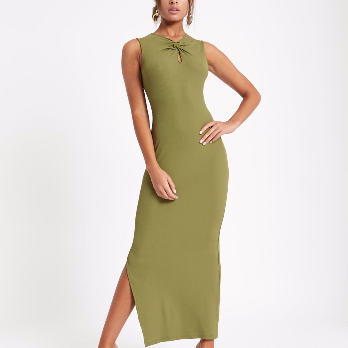 Khaki knot front sleeveless maxi column dress