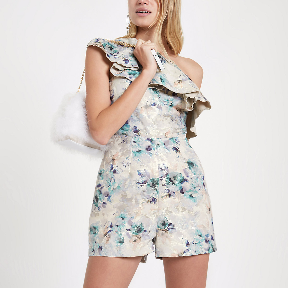 Blue floral jacquard one shoulder romper
