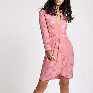 Pink plunge long sleeve shirt dress