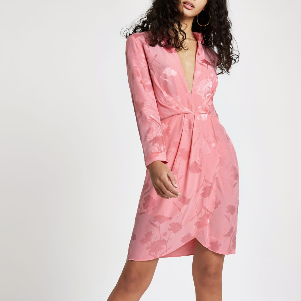 Pink plunge long sleeve shirt dress
