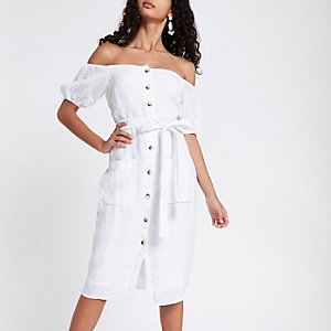 White button up bardot dress