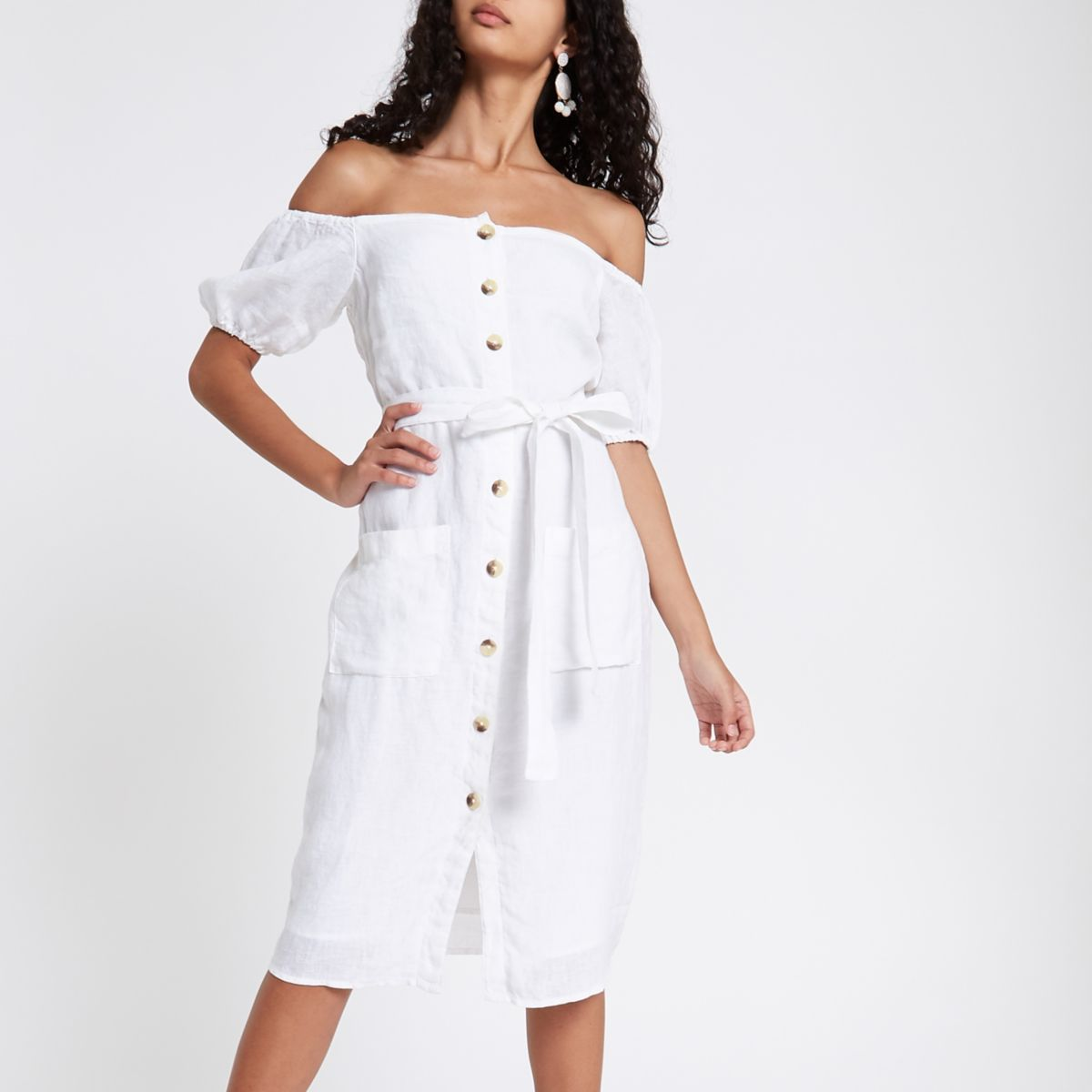 White button up bardot dress