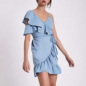 Light blue denim frill cold shoulder dress