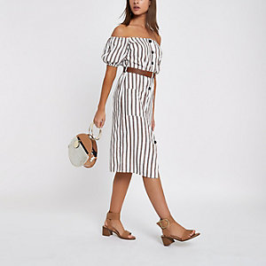 Brown button through stripe bardot dress