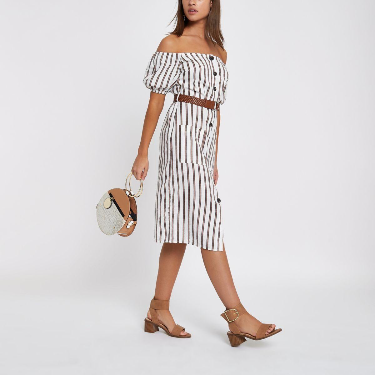 Brown button through stripe bardot dress