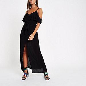 Zwarte schouderloze maxi-jurk
