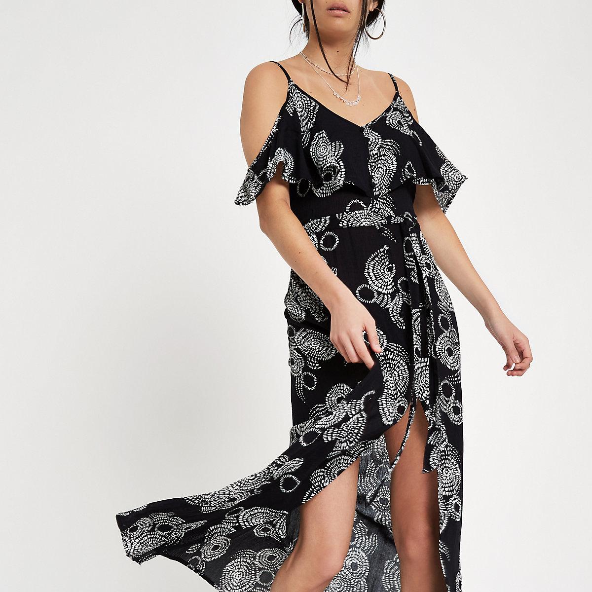 Zwarte schouderloze maxi-jurk met print