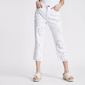 Petite white Bella cutwork straight leg jeans