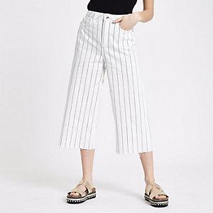Petite white pinstripe denim culottes