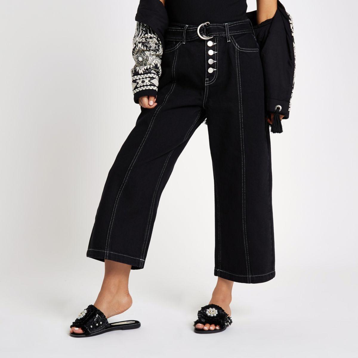 Petite black belted wide leg jeans