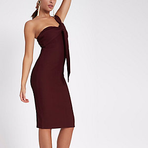 Dark red rib one shoulder twist midi dress