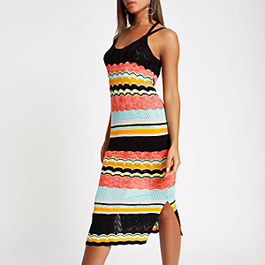 Black stripe print maxi dress
