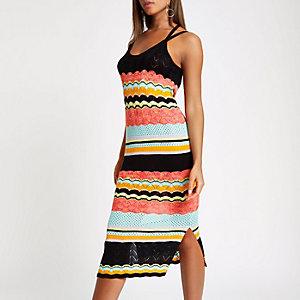 Black stripe print maxi dress