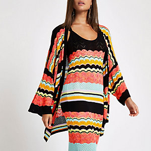 Black stripe print open front cardigan