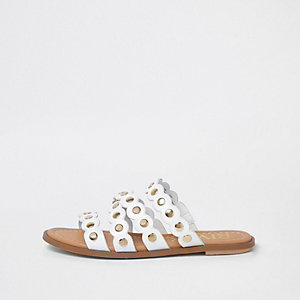 White scallop studded mule sandals