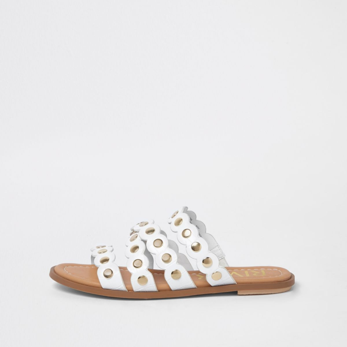 White Scallop Studded Mule Sandals by River Island