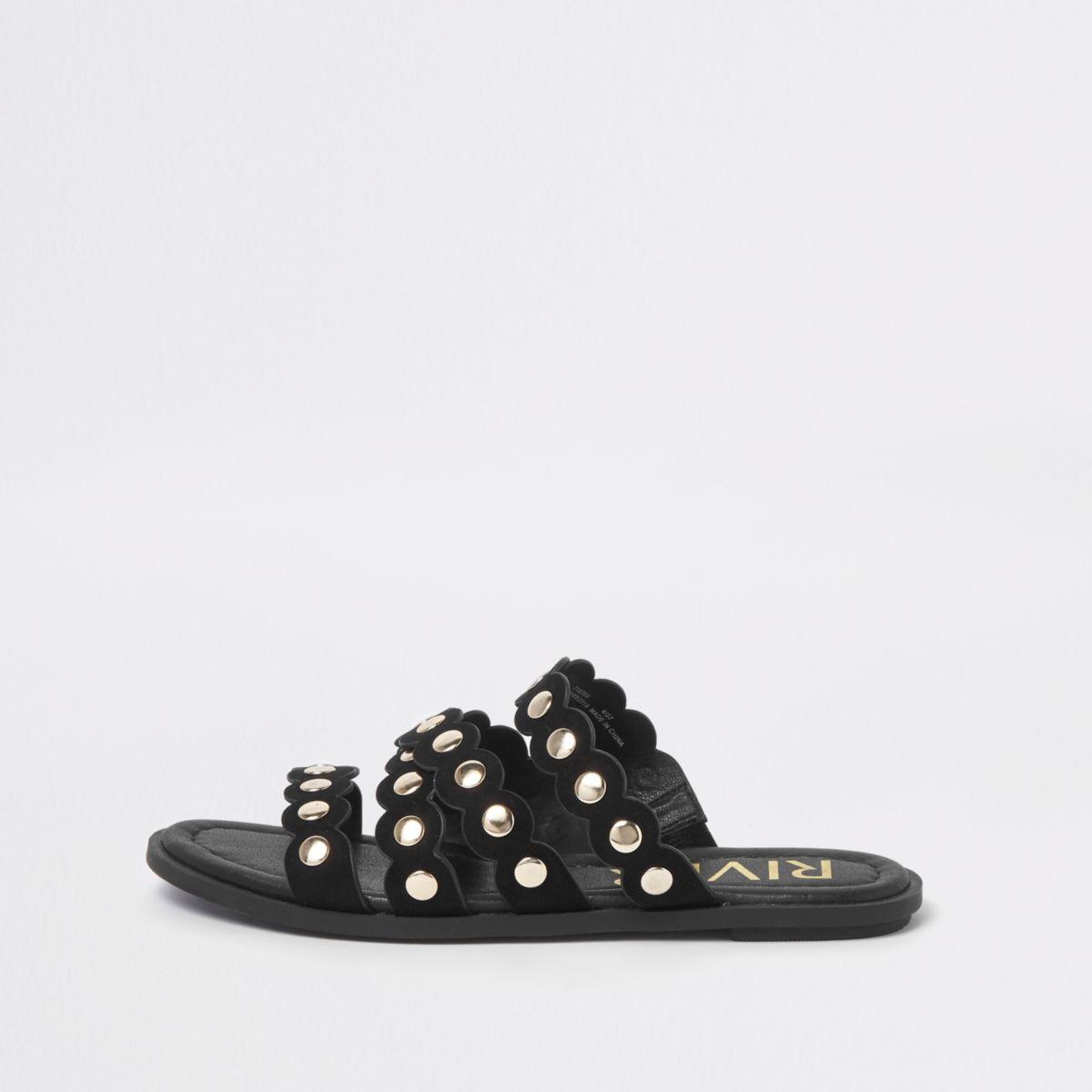 Black scallop studded mule sandals