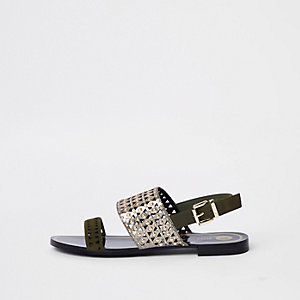 Khaki metallic laser cut sandals