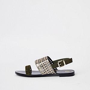 Kaki metallic laser-cut sandalen