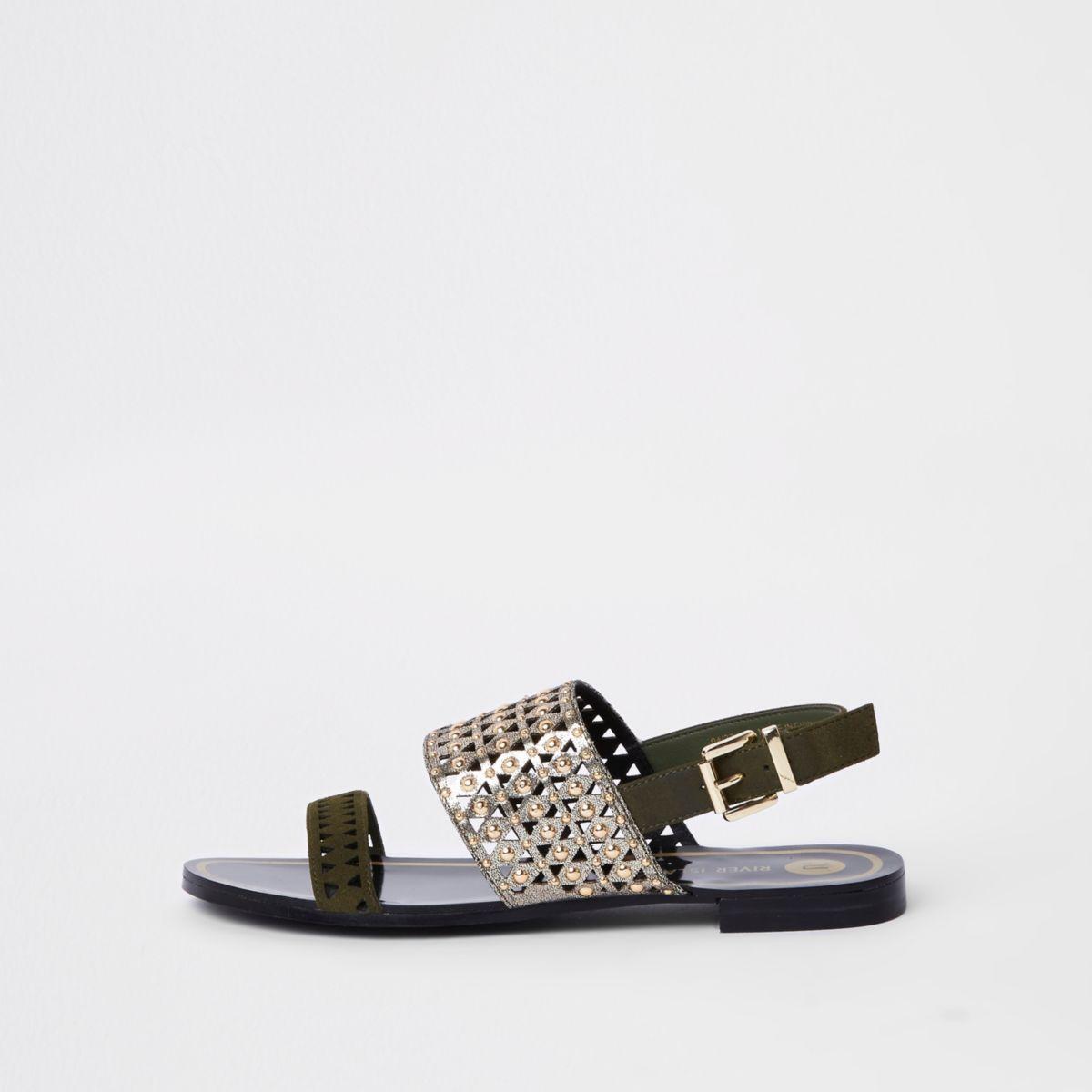 River Island Womens Khaki metallic laser cut sandals IV9ONpAs