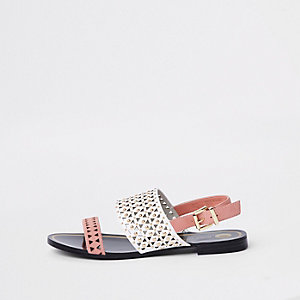 White and pink laser cut sandals