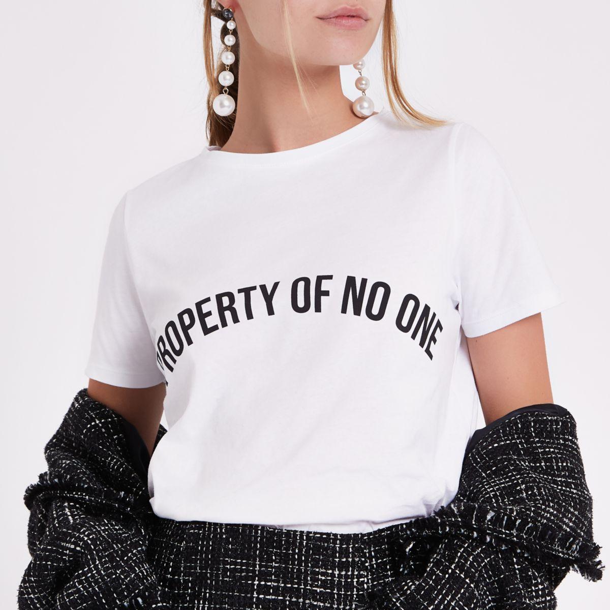 Petite white 'property of no one' T-shirt