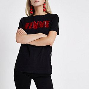 RI Petite - Zwart T-shirt met drukknopen en 'Femme'-print