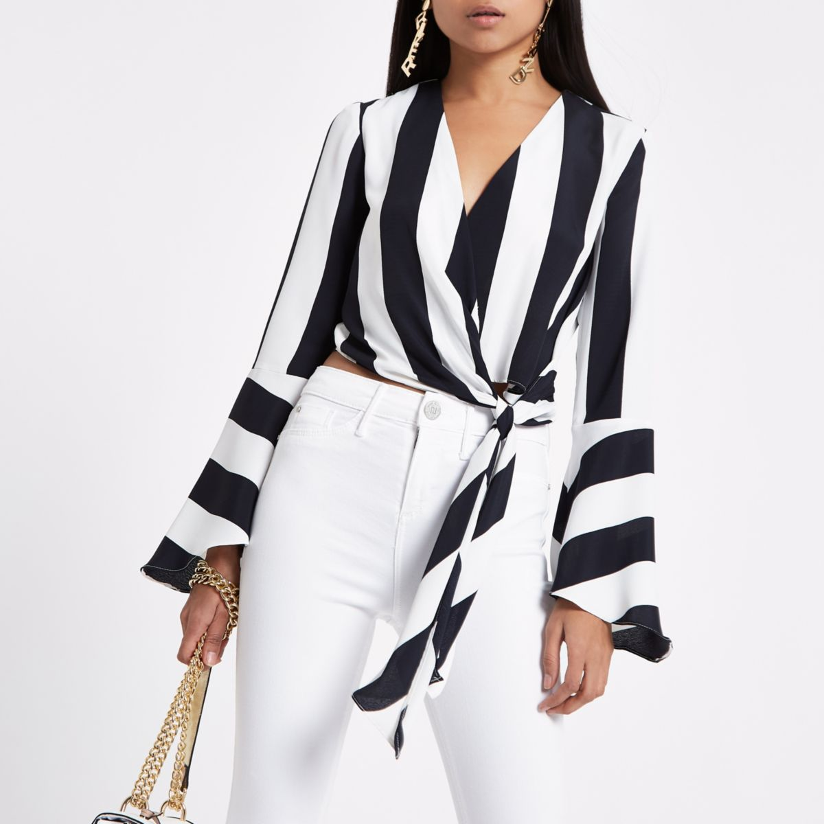 Petite white mono stripe knot cropped top