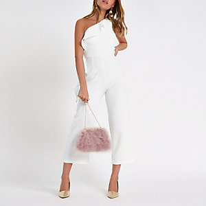 Petite white frill one shoulder jumpsuit
