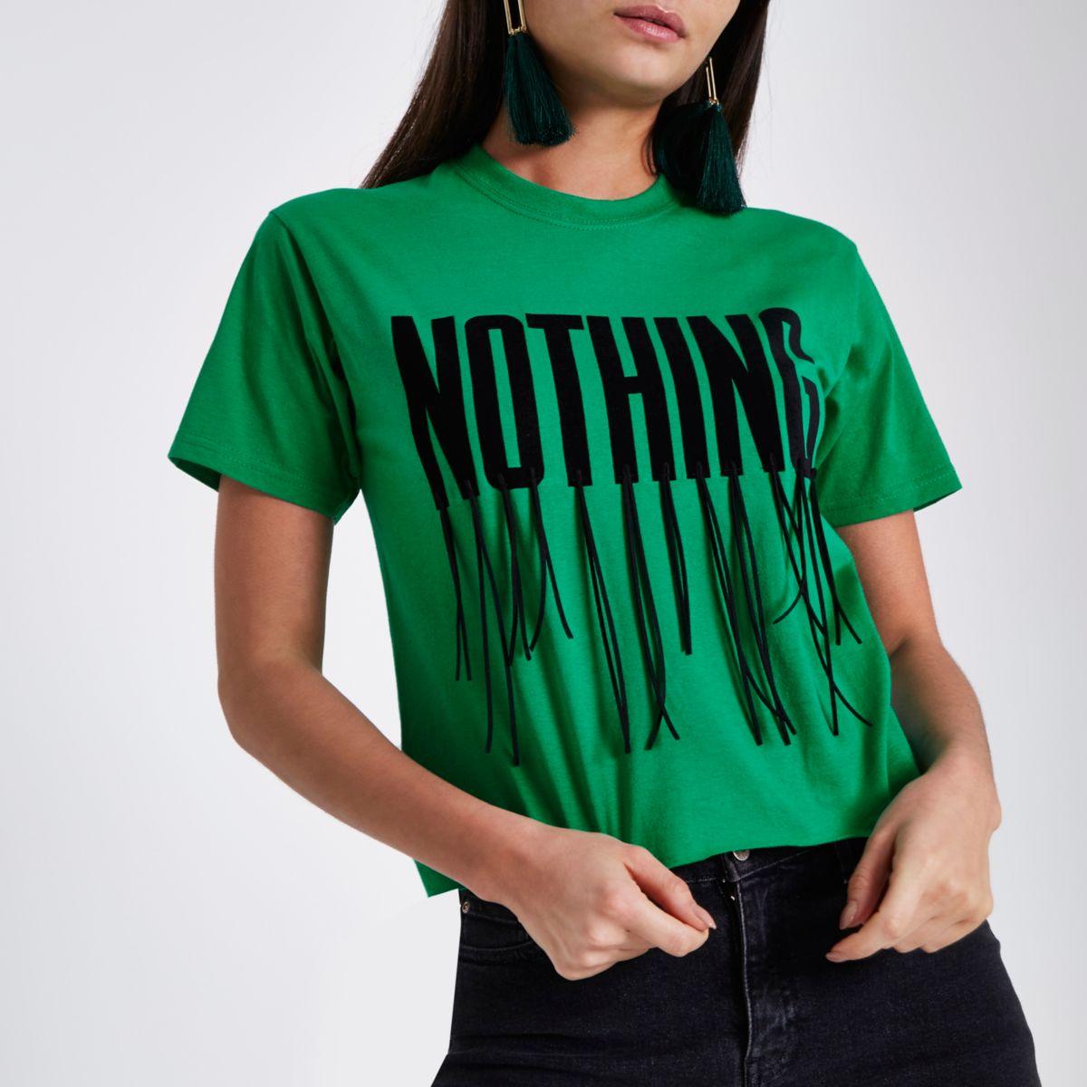 Green 'nothing' tassel cropped T-shirt