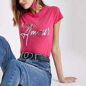 Roze T-shirt met 'More amour'-print en ringen