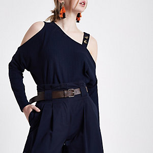 Navy rib button cold shoulder top
