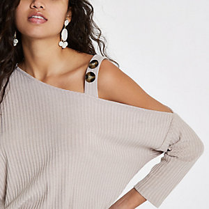 Beige rib button cold shoulder top