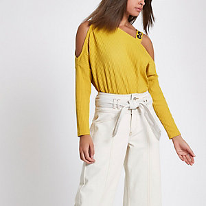 Yellow rib button cold shoulder top
