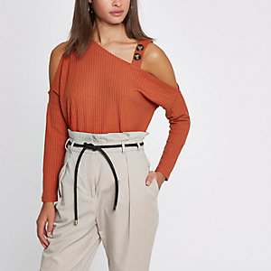 Orange rib button cold shoulder top