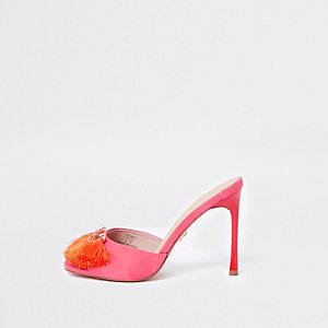 Pink tassel heeled mules