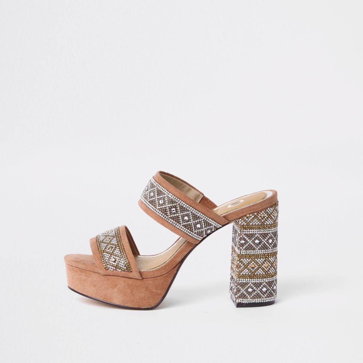 Beige embellished platform block heel sandals