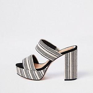 White stripe block heel platform sandals