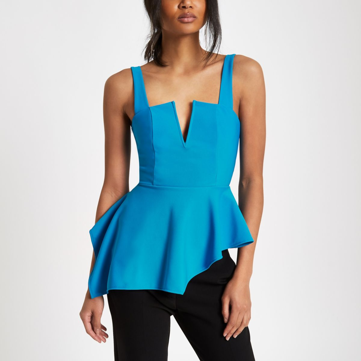 Blue plunge asymmetric peplum hem top
