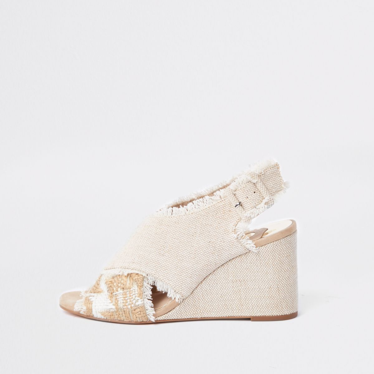 Cream cross over wedges