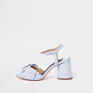 Blue rhinestone flower block heel sandals