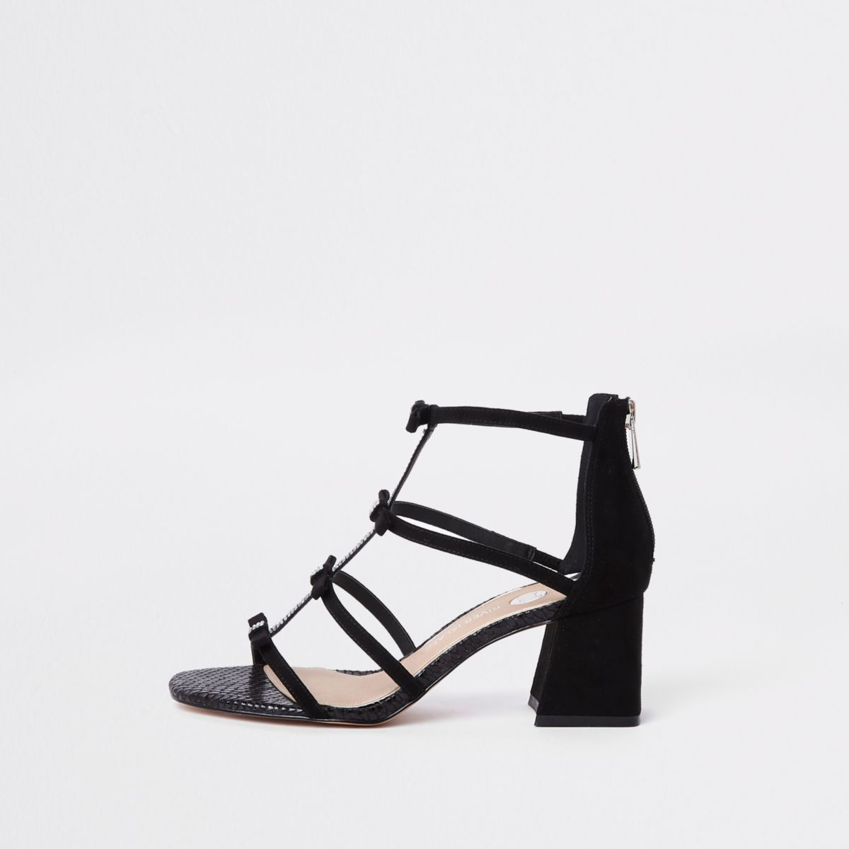 Black diamante caged block heel sandals