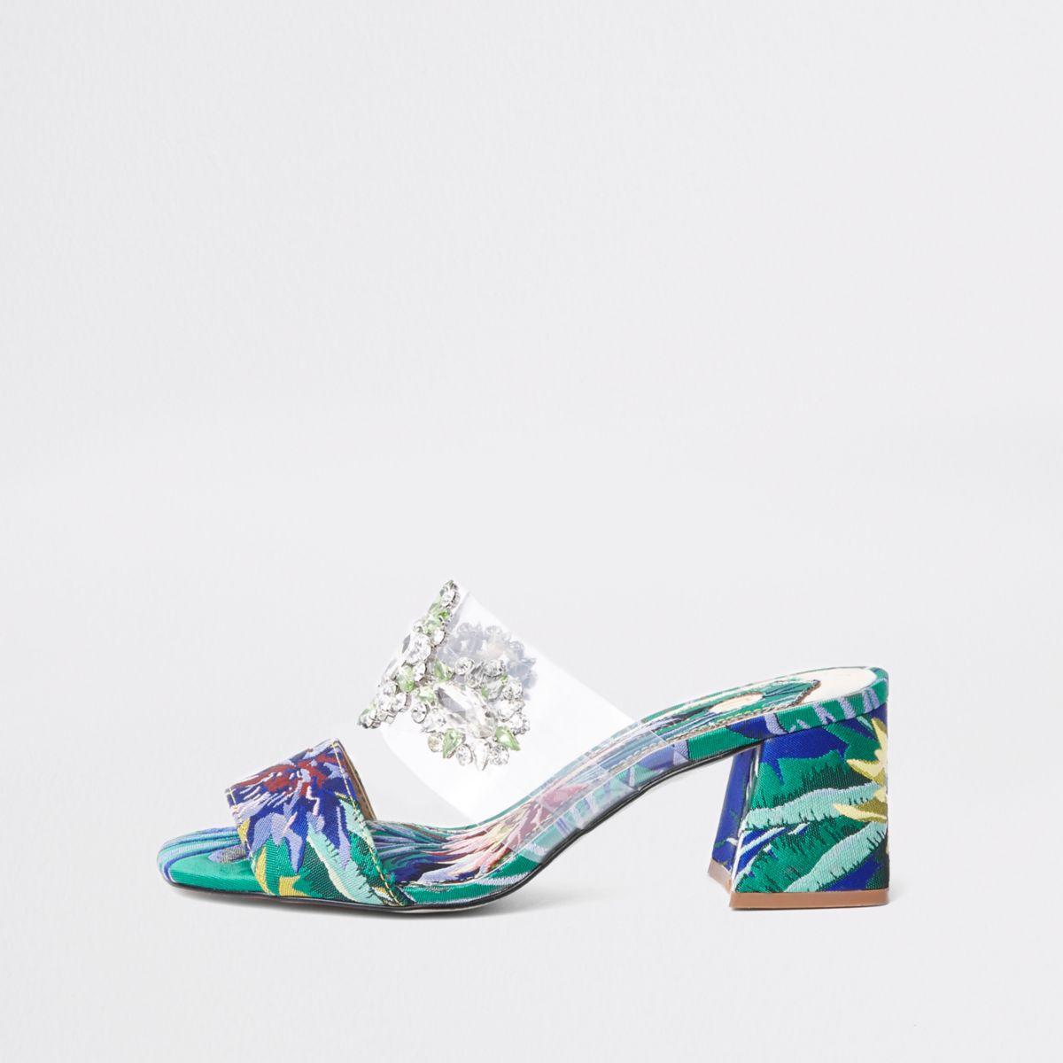Green textile print block heel sandals